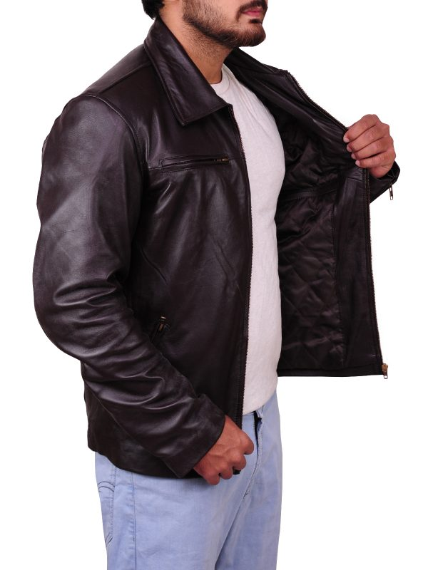 Two zip leather jacket, pure leather