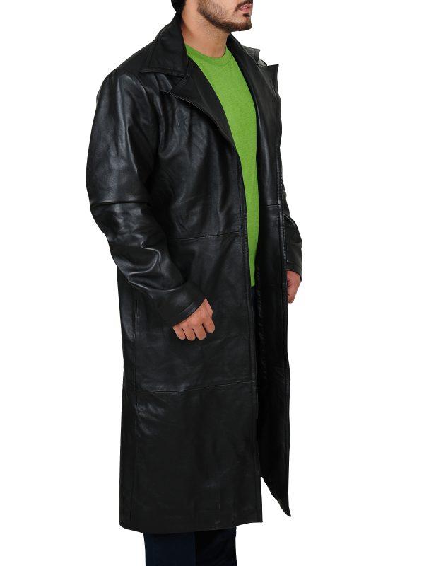 Stylish leather jacket, long black jacket