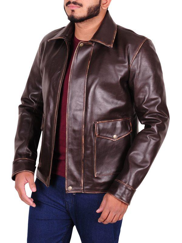 shirt collar leather jacket, brown vintage jacket for men