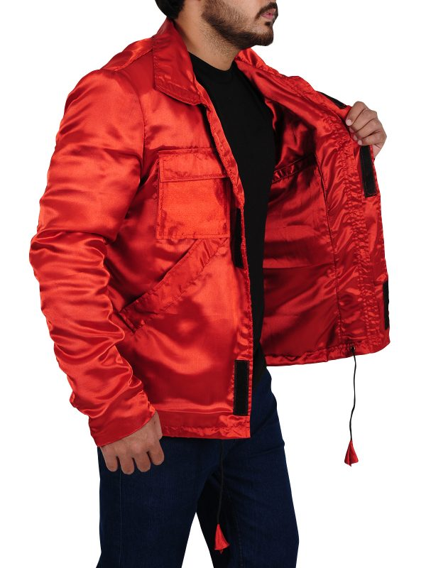 flashy jacket, satin material jacket