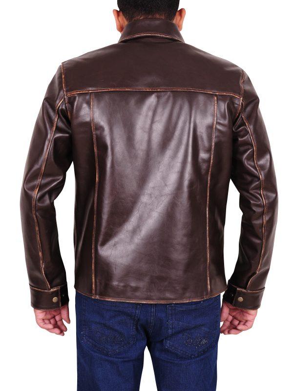 distressed brown leather jacket, distressed brown jacket for men