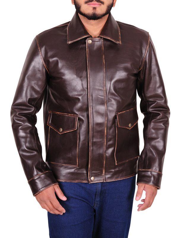men vintage leather jacket, trendy men vintage leather jacket