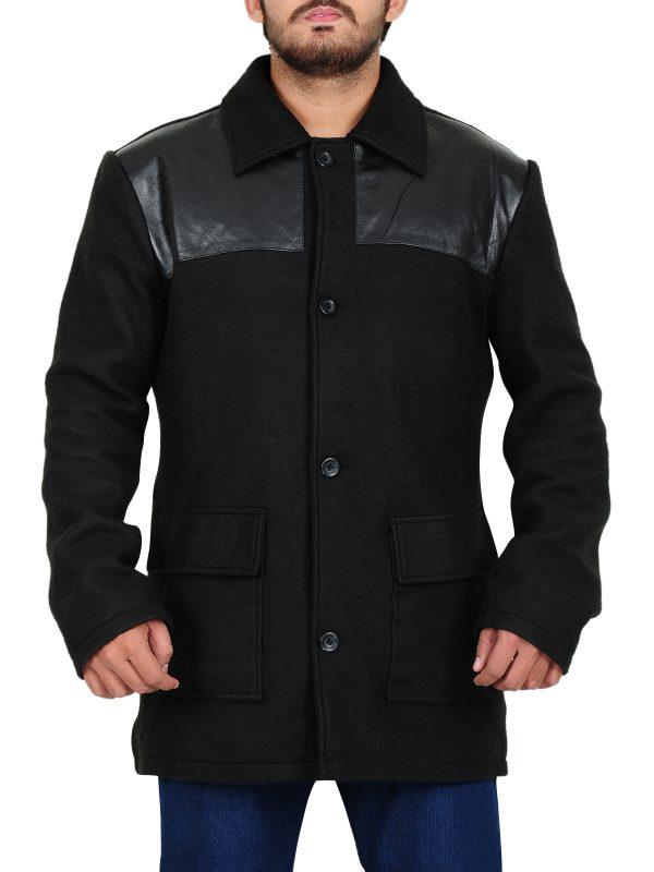 unique design black coat, warm black coat