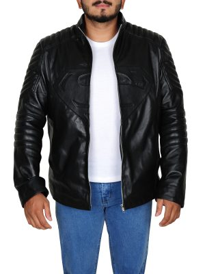 Clark Kent leather jacket, front open jacket