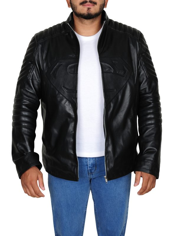 Clark Kent leather jacket, front open jacket
