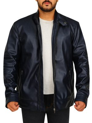 blue leather jacket men, x men blue leather jacket,