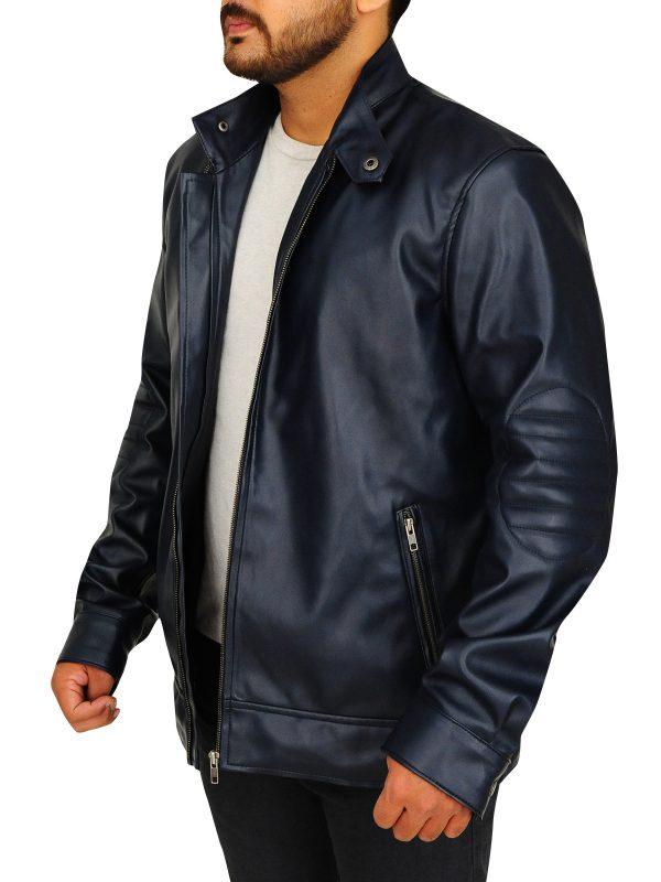 men dark blue jacket, dark blue leather jacket,