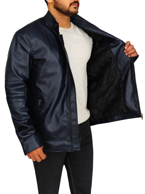 slim leather jacket, cool blue leather jacket,