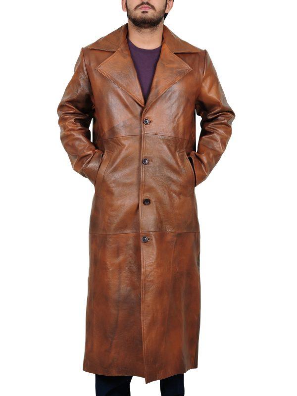 celebrity leather coat, long coat