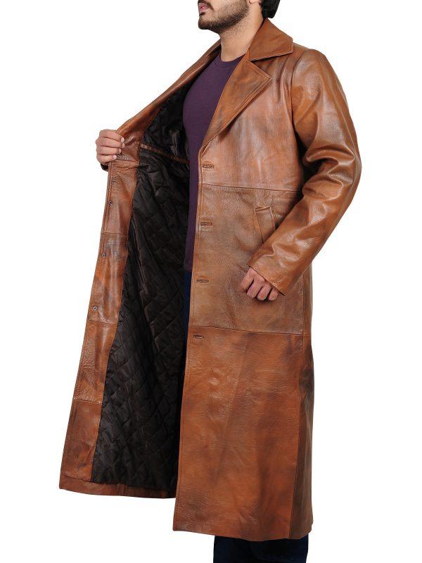 stylish leather coat, fashionable coat