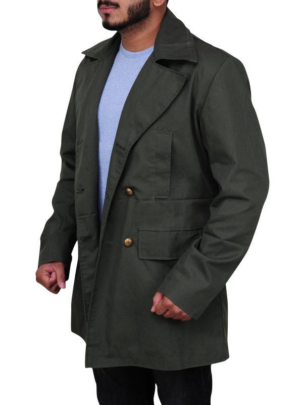 celebrity green coat, pure cotton coat