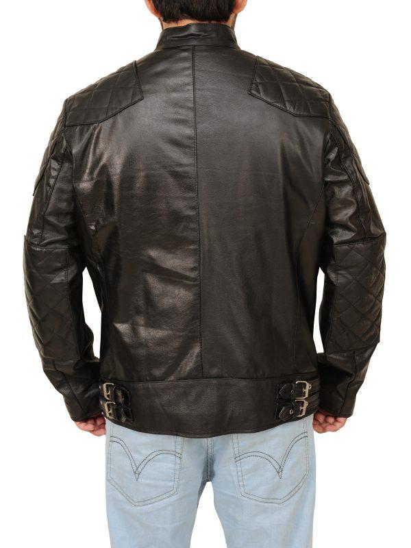 pure black leather jacket, great style leather jacket
