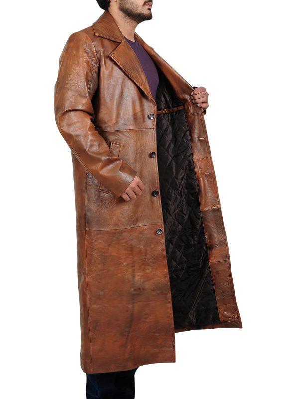 trendy leather coat, brown leather coat