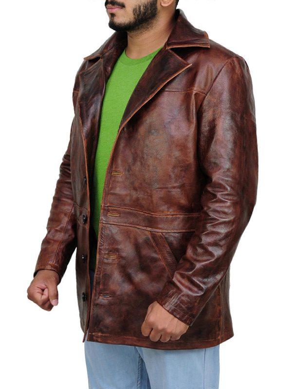 distressed brown jacket, classy brown jacket