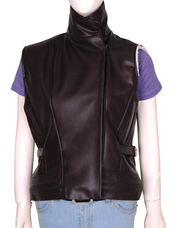 dark brown leather jacket, sleeveless girl jacket