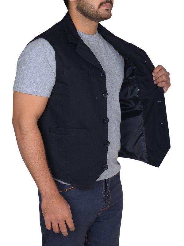 men fashion vest, slim fit black vest