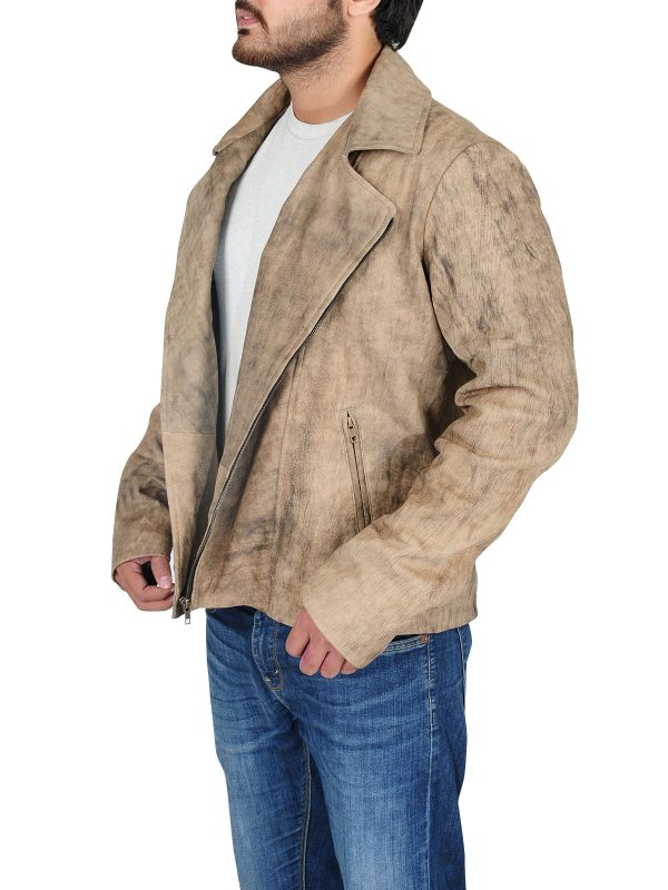 popular light brown coat, distressed leather coat