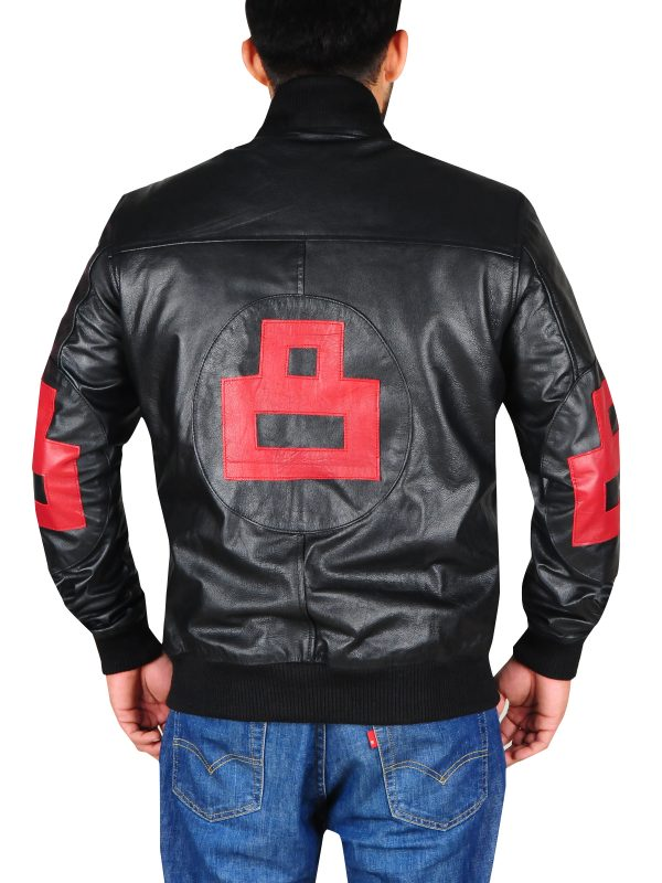cool 8 ball leather jacket, red and black leather jacket