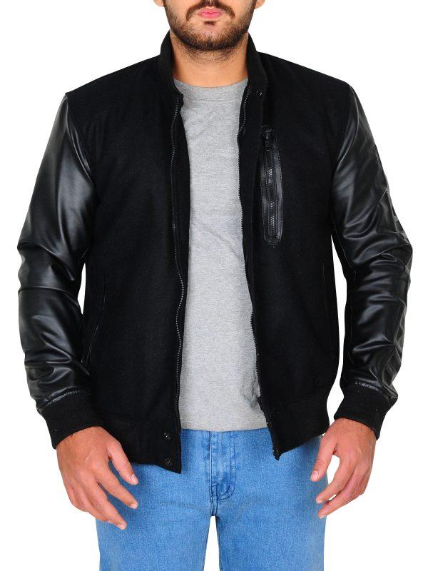 michael b jordan leather jacket, rib knitted leather jacket