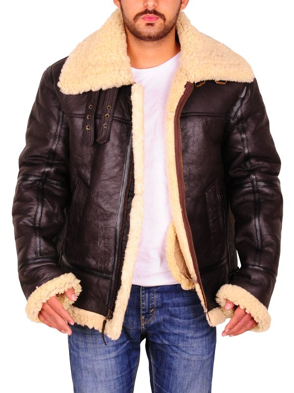 shearling leather jacket, real sheepskin leather