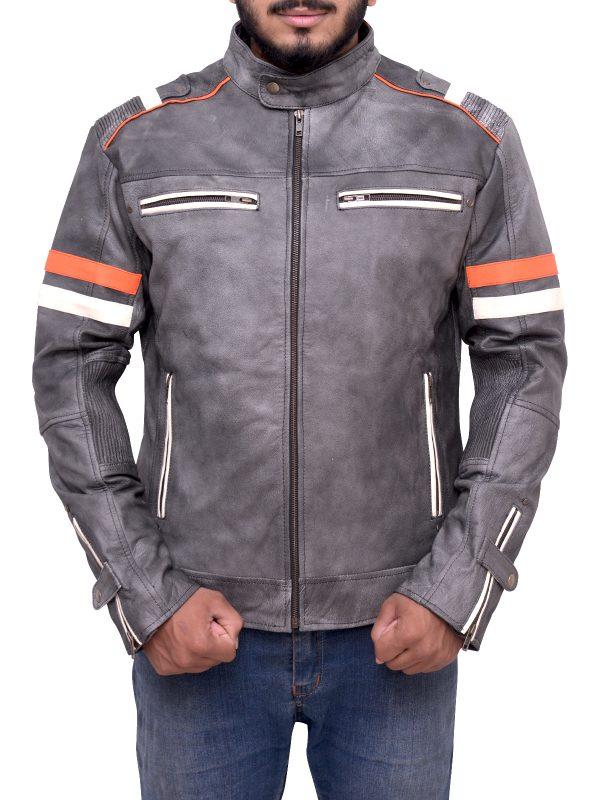 light grey biker jacket, distressed grey biker jacket, cafe racer grey leather jacket