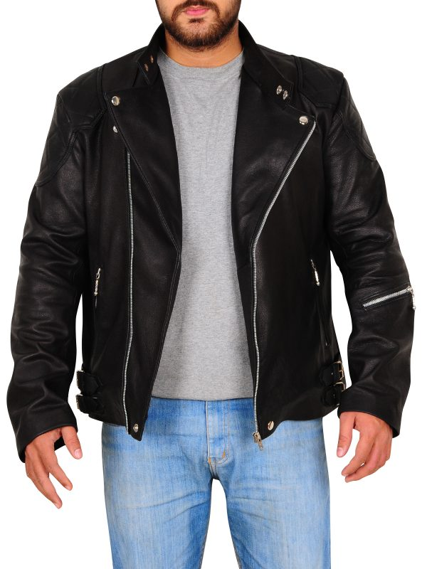 stylish black biker jacket, black leather biker jacket