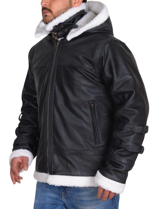 Bomber black jacket, aviation black leather jacket