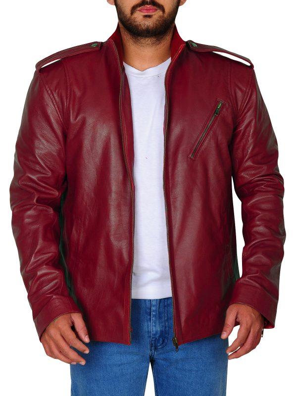 trending leather jacket, red stylish leather jacket
