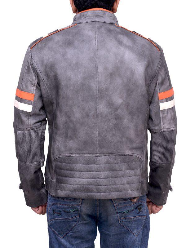 trendy grey leather jacket, trending biker jacket grey leather
