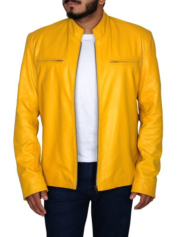 funky student yellow jacket, student yellow leather jacket