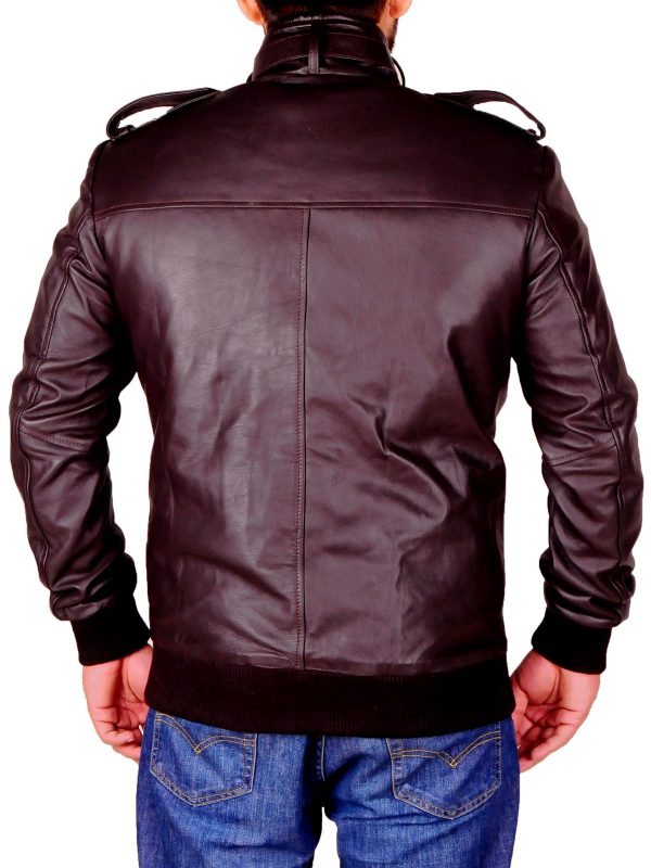 slim fit leather jacket, brown rib kintted jacket