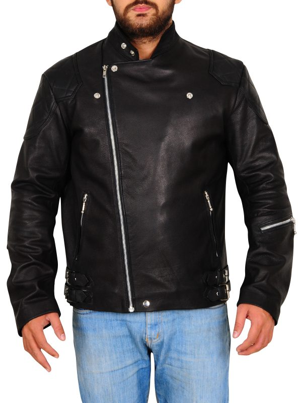 black trendy biker jacket, biker jacket in black