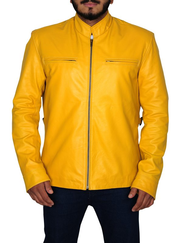 yellow biker jacket, yellow leather jacket