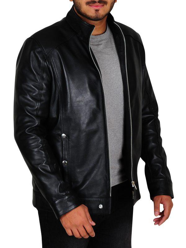 slim fitted black leather jacket, black trendy leather jacket