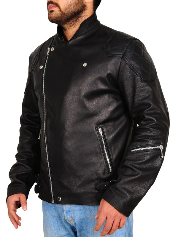 lapel collar biker jacket, shirt collar black jacket