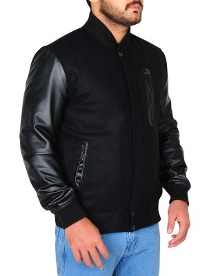 cool college boy leather jacket, jet black leather jacket