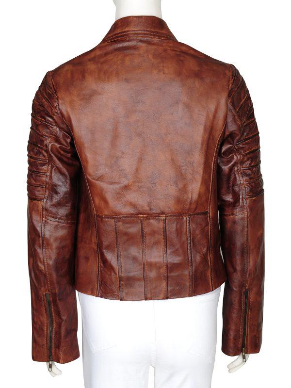 stylish leather jacket, trending brown jacket