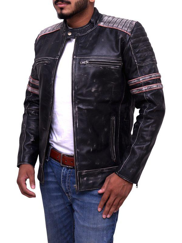 Cafe Racer leather jacket, motorcycle leather jacket