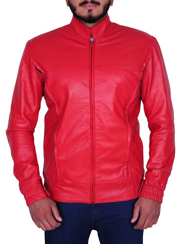 cool red student jacket, student leather jacket in red