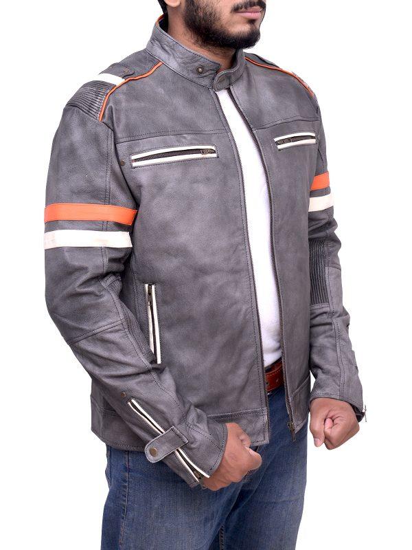 yamaha grey leather jacket, stylish leather jacket