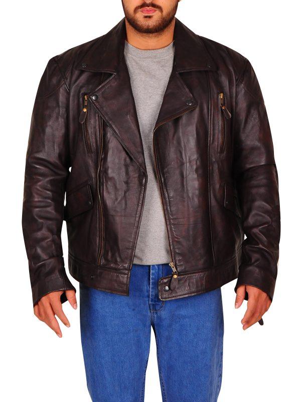 brando biker jacket, brown biker jacket for men, men brando brown leather jacket