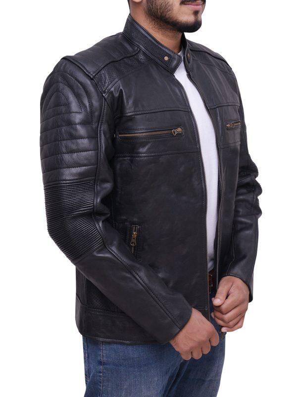 men biker leather jacket, trendy biker leather jacket
