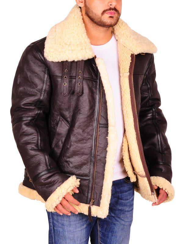 trending slim fit shearling jacket, men fashion sheep skin jacket