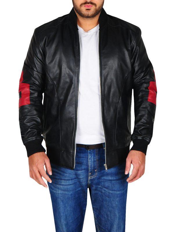 8 ball men leather jacket, black 8 ball leather jacket, rib knitted black men jacket