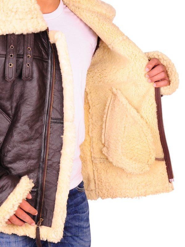 full sheep fur jacket, real leather jacket