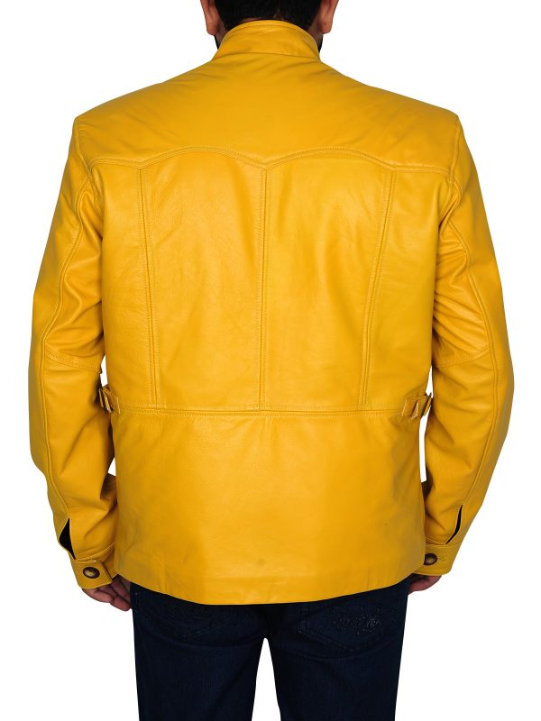 leather jacket in yellow, biker jacket in yellow