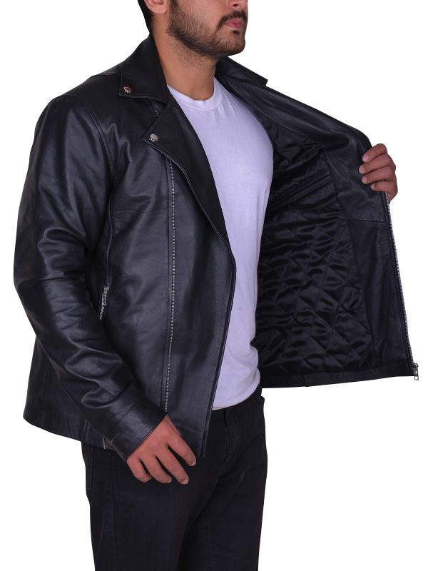 lapel collar leather jacket, slim fit leather jacket