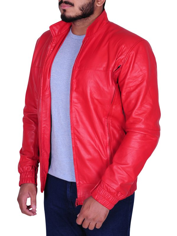 teen red leather jacket, trendy red jacket