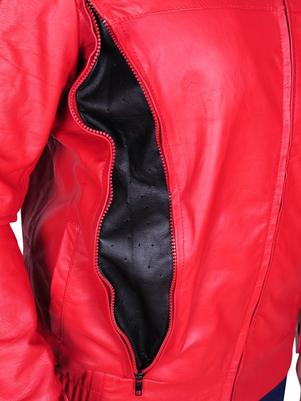 slim fit red leather jacket, red harley davidson jacket
