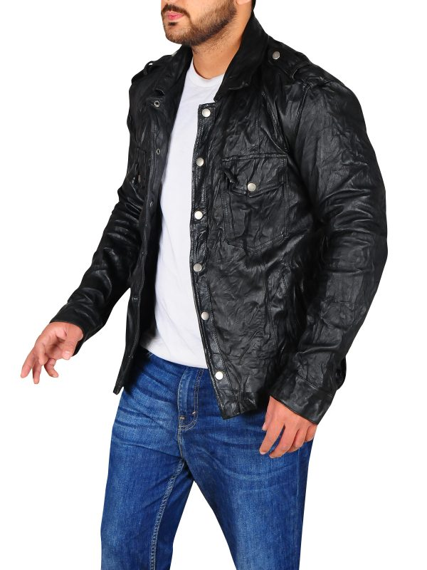 attractive leather jacket, slim fit jacket